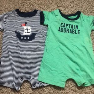 Two 9 month rompers